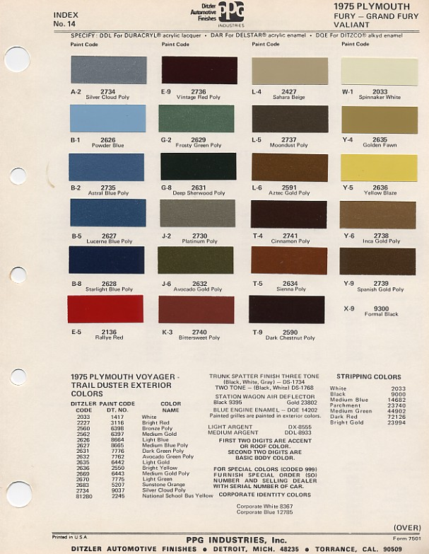 Ford Vin Paint Color Codes